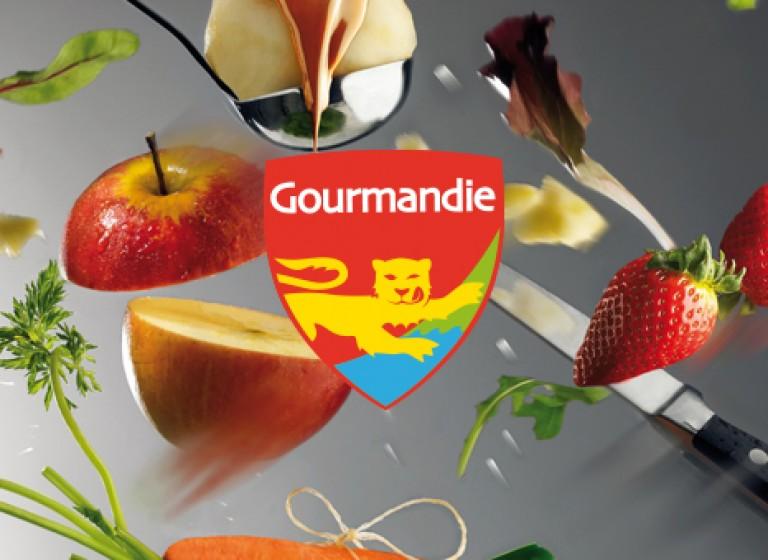Communication institutionnelle, opération « Bien manger en Normandie », identité visuelle, PLV, plaquettes, dépliant, brochures