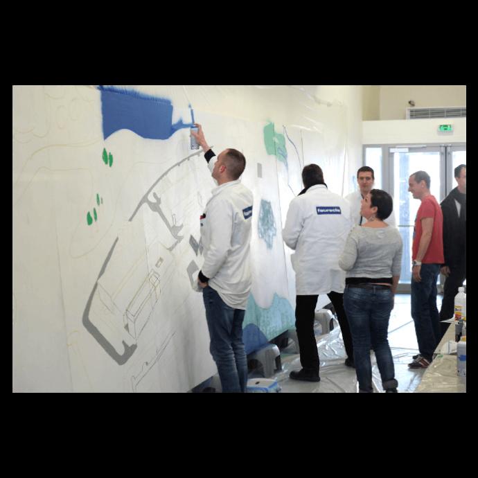 realisation-fresque-géante-streetart-entreprise-seminaire-faurecia